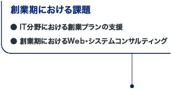 創業期における課題 ●IT分野における創業プランの支援 ●創業期におけるWeb・システムコンサルティング